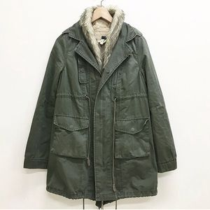 Free people army green utility jacket fur collar